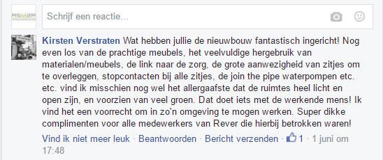 Een lovende reactie op Facebook door een medewerker van VGZ.